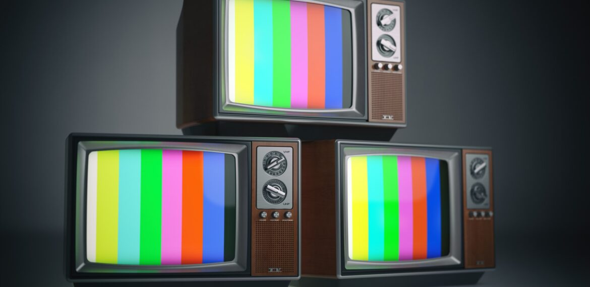 Heap of retro TV sets with no signal. Communication, media and t